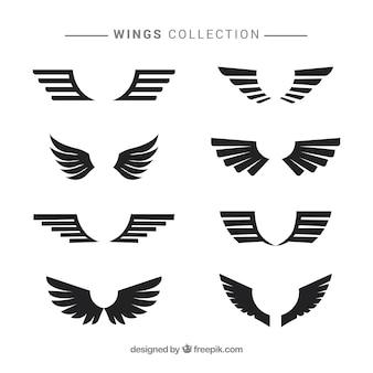 Czarne nowoczesne skrzydła w płaskim stylu