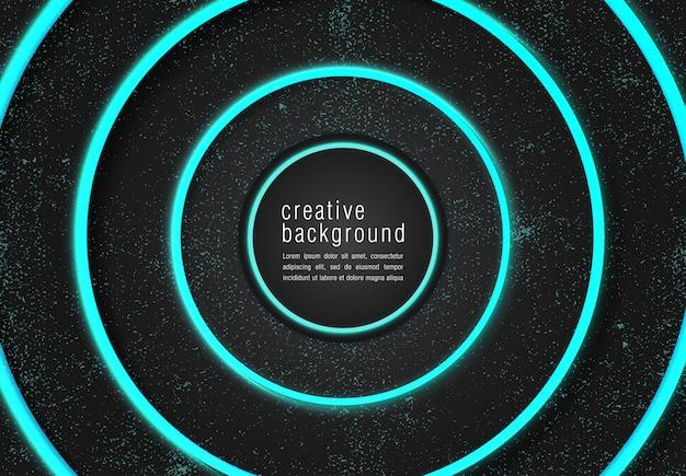 Czarne nowoczesne tło z neon glow turquoise color