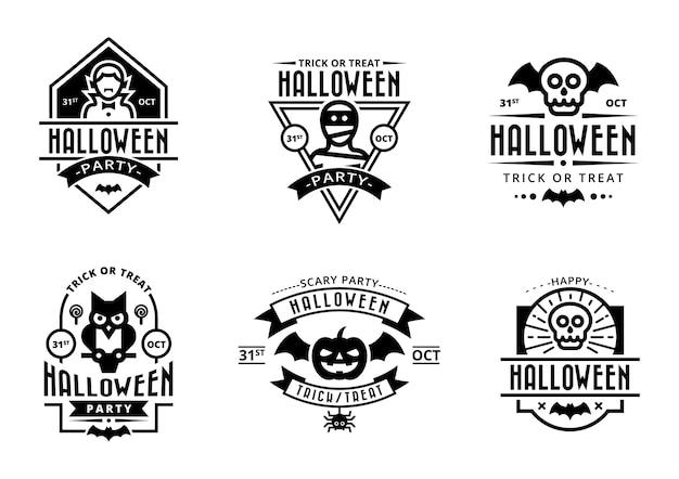 Czarne odznaki halloween na białym tle