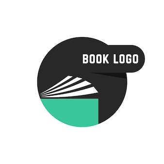 Czarne okrągłe logo książki. koncepcja notatnika, e-booka, informacji, pdf, podręcznika, pamiętnika, uczelni, miękkiej oprawy, encyklopedii, księgarni. płaski trend nowoczesny design marki ilustracji wektorowych na białym tle
