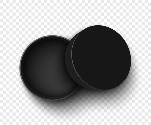 Czarne, okrągłe, otwarte pudełko z wieczkiem