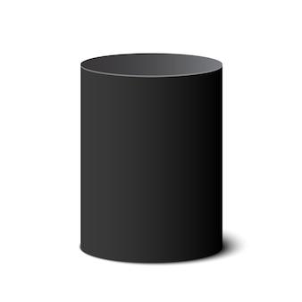 Czarne okrągłe pudełko. cylinder. beczka. ilustracja.