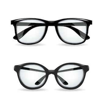 Czarne okulary realitic na białym tle