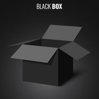 Czarne, otwarte pudełko. ilustracja.