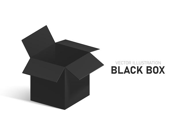 Czarne otwarte pudełko na białym tle