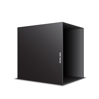 Czarne, otwarte pudełko. .
