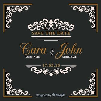 Czarne ozdobne zaproszenie na ślub