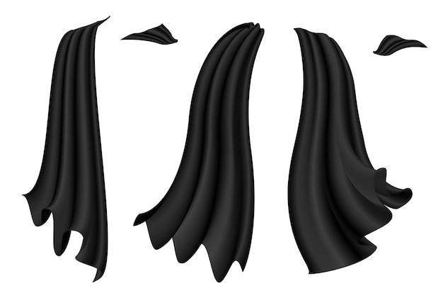 Czarne peleryny ustawione na białym tle halloween satynowe wampiry czerwone płaszcze ilustracja