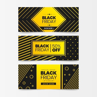 Czarne piątek banery w płaskiej konstrukcji