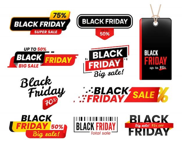 Czarne piątek etykiety. sprzedaż naklejek na sprzedaż w piątkowe święto dziękczynienia, zestaw metek na zakupy