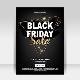Czarne piątkowe reklamy sprzedaży ulotek w tle