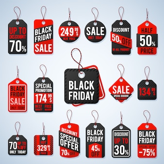 Czarne piątkowe tagi cenowe i etykiety promocyjne z tanimi cenami i najlepszymi ofertami. detaliczny wektor znak, sprzedaż piątek czarny znak, etykieta ilustracja oferta promocyjna