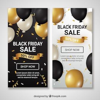 Czarne piątkowe transparenty z balonów