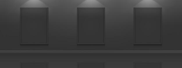 Czarne plakaty filmowe. białe ramki do zdjęć