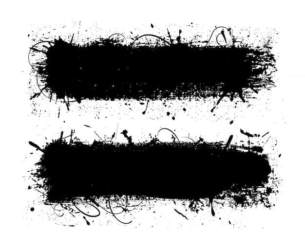Czarne pociągnięcia pędzlem grunge