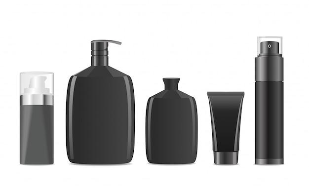Czarne pojemniki kosmetyczne dla mężczyzn