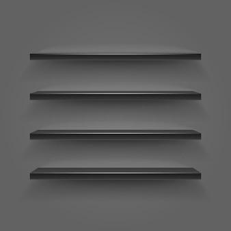 Czarne puste półki na ciemnej ścianie. ilustracja wektorowa