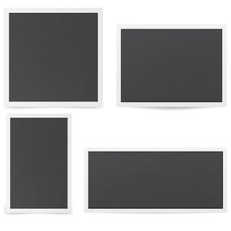 Czarne ramki na zdjęcia. makieta ramek z różnymi cieniami.