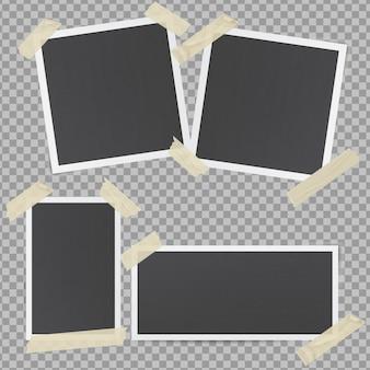 Czarne ramki na zdjęcia przyklejone przezroczystą taśmą klejącą
