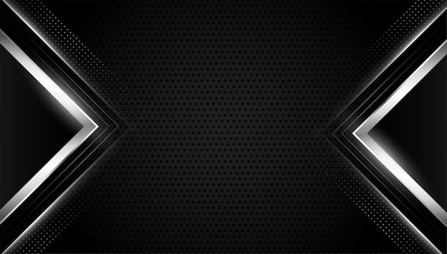 Czarne realistyczne tło ze srebrnymi geometrycznymi kształtami