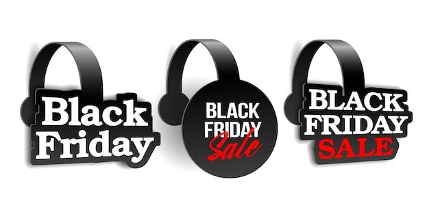 Czarne realistyczne woblery reklamowe na super wyprzedaż black friday. szablon etykiety do sprzedaży detalicznej reklamy, rabatu lub oferty specjalnej. próbka na baner lub plakat.