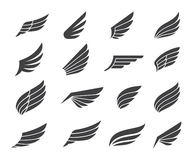 Czarne skrzydło elementy ikony