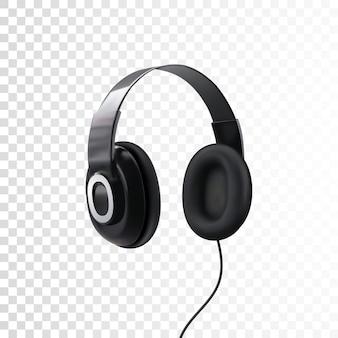 Czarne słuchawki na białym tle