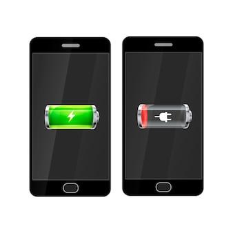 Czarne smartfony z pełną i pustą baterią błyszczącą, odizolowane