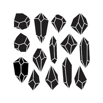Czarne, solidne, wielokątne kamienie szlachetne w kształcie rombu