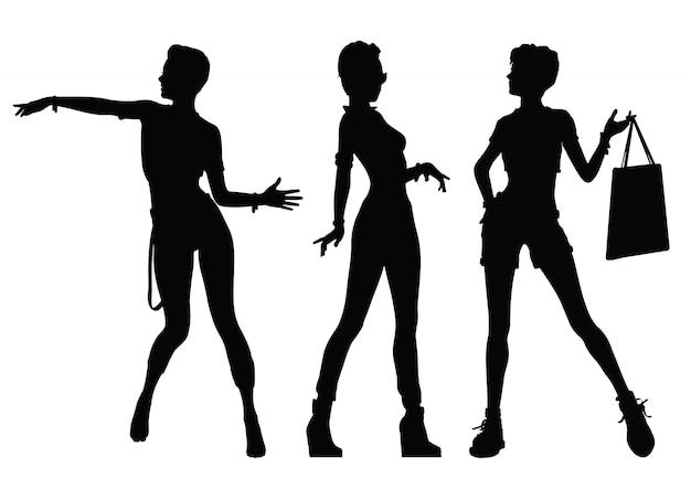 Czarne sylwetki kobiet