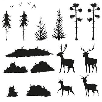 Czarne sylwetki sosen, świerków, krzewów, trawy, jeleni i ptaków. ustawić płaskie ikony drzew leśnych i zwierząt na białym tle.