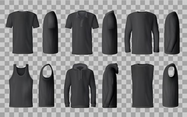 Czarne szablony t-shirt, koszulka polo, bluza, bluza z kapturem