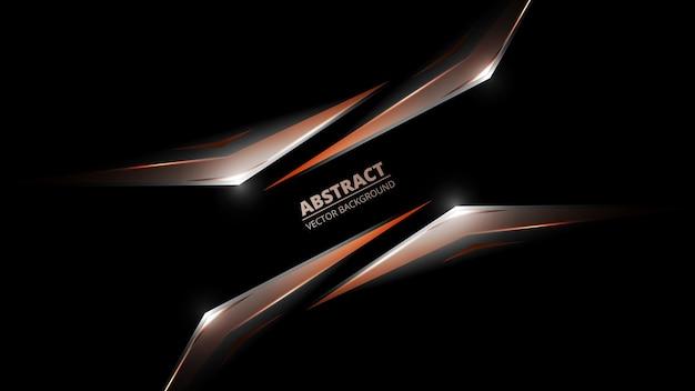 Czarne tło abstrakcyjne z abstrakcyjnych kształtów geometrycznych i świateł.