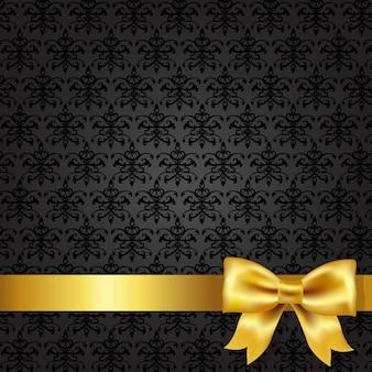 Czarne tło adamaszku z kokardą złota, ilustracji