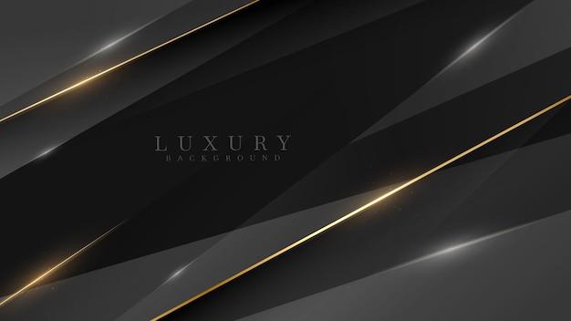Czarne tło luksusowe wraz ze złotą linią, koncepcja minimalnej sceny technologii, puste miejsce na tekst. ilustracja wektorowa 3d.