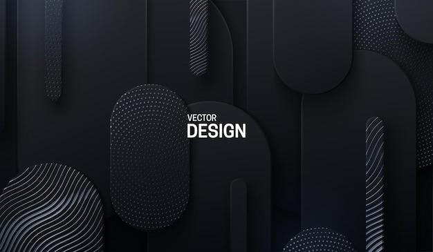 Czarne tło papercut z abstrakcyjnymi geometrycznymi kształtami teksturowanymi z wygrawerowanym wzorem i błyskotkami