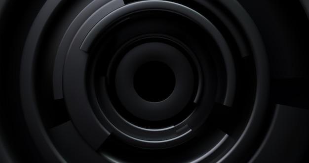 Czarne tło promieniowe. streszczenie tło z koncentrycznymi czarnymi kształtami.