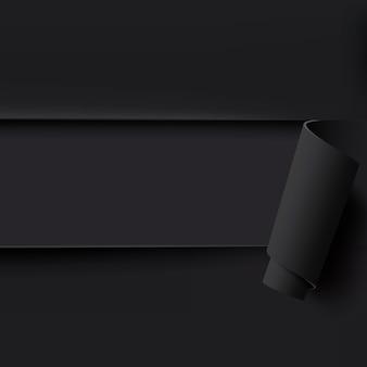 Czarne tło rozdarty papier z pustym miejscem na tekst. szablon do broszury, plakatu lub ulotki. ilustracja.