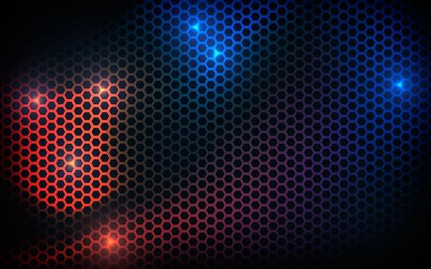 Czarne tło tekstury sześciokąta z niebieskim i pomarańczowym efektem świetlnym