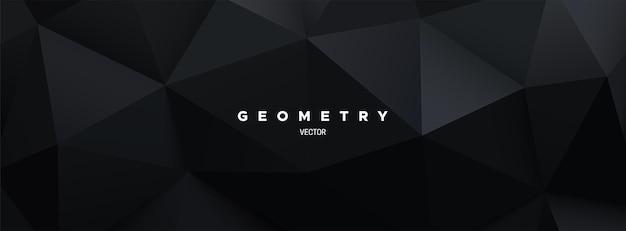 Czarne tło wielokątne z geometryczną trójkątną płaskorzeźbą