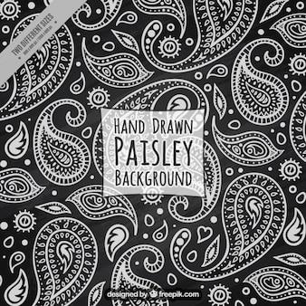 Czarne tło z białymi szkice floral paisley