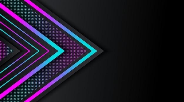 Czarne tło z geometrycznym kształcie gradientu neon brokat