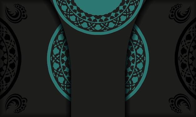 Czarne tło z greckimi niebieskimi ornamentami vintage i miejscem na logo i tekst. projekt pocztówki z abstrakcyjnym ornamentem.