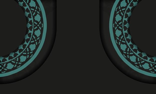 Czarne tło z greckimi niebieskimi ornamentami vintage i miejscem na logo. szablon do druku pocztówki z abstrakcyjnym ornamentem.