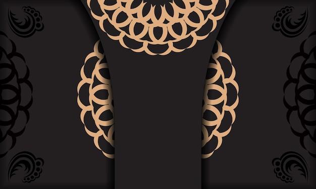 Czarne tło z luksusowymi ornamentami vintage i miejscem na logo. szablon do druku pocztówki z rocznika ornamentem.
