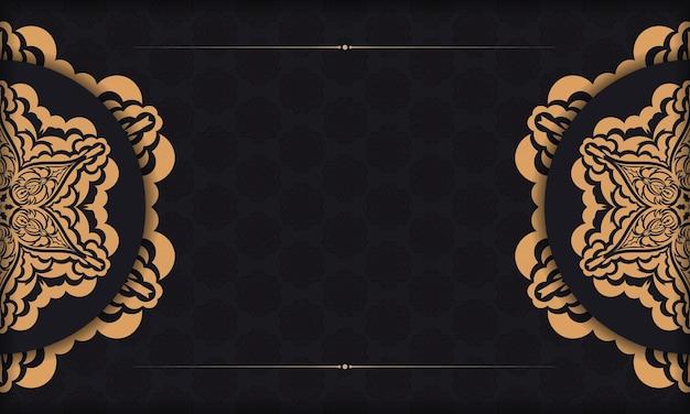 Czarne tło z luksusowymi ornamentami vintage i miejscem na logo. szablon do projektu nadruku pocztówki