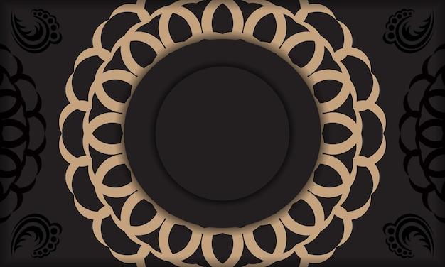 Czarne tło z luksusowymi ozdobami vintage i miejscem na logo i tekst. projekt pocztówki z rocznika ornamentem.