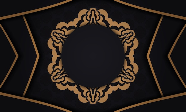 Czarne tło z luksusowymi ozdobami vintage i miejscem na twój tekst i logo. projekt pocztówki gotowy do druku