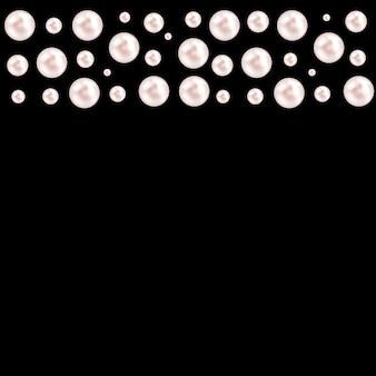 Czarne tło z naturalnymi perłowymi girlandami z koralików. ilustracji wektorowych