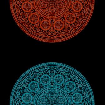 Czarne tło z okrągłym ornamentem - styl arabski, islamski, wschodni